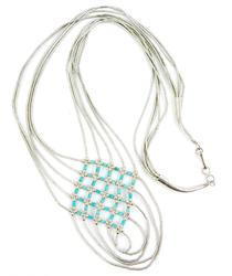 Vintage Sterling Liquid Silver & Turquoise Necklace