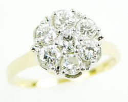 Exquisite 14K Multi-Diamond Cluster Ring, 7.25