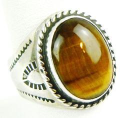 Men's Chunky Sterling Tiger Eye Ring, Size 10