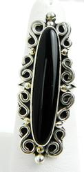Signed Navajo Sterling Black Onyx Ring, 6.5