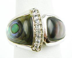 Impressive Sterling Abalone & CZ Ring, 7.5