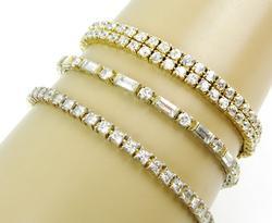 3 High Quality Sterling Silver CZ Tennis Bracelets