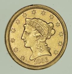 1866-S $2.50 Liberty Head Gold Quarter Eagle - Circulat