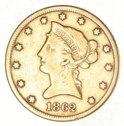 1862-S $10.00 Liberty Head Gold Eagle - Civil War Year