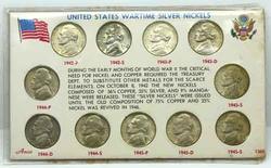 Complete BU Wartime Nickel Set 1942-1945