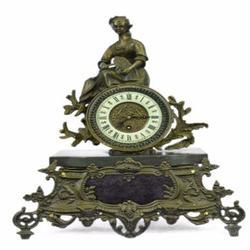 Art Deco French Maiden Mantle Clock Bronze Sculpture