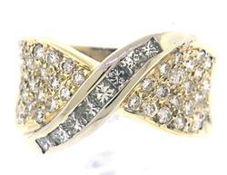 Elegant Princess & RBC Diamond Crossover Ring