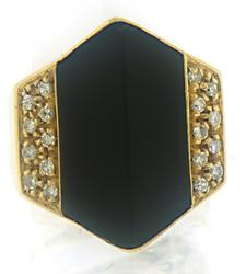 Black Onyx and Diamond Abstract Ring
