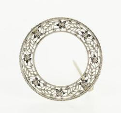 14KT White Gold Diamond Brooch