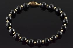 14KT Yellow Gold Onyx Bracelet