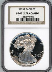 Near perfect 1993-P $1 Silver Eagle. NGC PF69 Ultra CAM