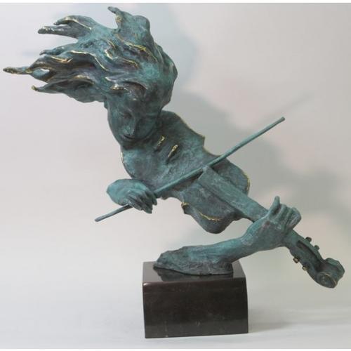 Female Girl Lady Violin Player Bronze Sculpture