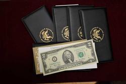 5 x US Monetary Exchange Folders with UNC $2 each