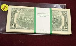 CU Pack of 2013 $2 Notes, K Block