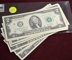 CU Pack of 50 2013 $2 Notes, L Block