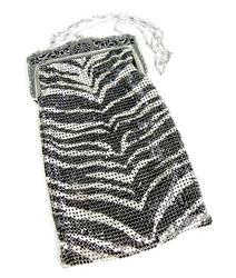 Vintage Whiting & Davis Zebra Metal Mesh Bag w/Box