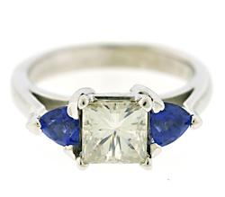 Elegant Moissanite and Tanzanite Ring