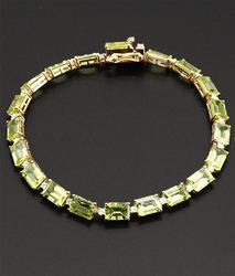 Peridot and Diamond Sterling Bracelet +19ctw.