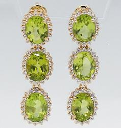 Peridot and Topaz Waterfall Sterling Silver Earrings
