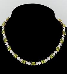 Topaz and Peridot Sterling Silver Necklace +25ctw.