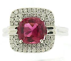 Outstanding Pink Tourmaline w Double Halo Diamond Ring