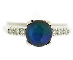 Vintage Black Opal and Diamond Ring