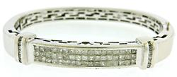 Glowing apx 5.7ctw Princess Cut Diamond Bangle