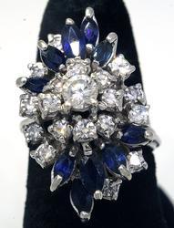 1.6CTW Sapphire & 0.70CTW Diamond Cluster Ring