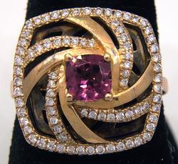 Vintage 18KT Rhodalite Garnet & Diamond Ring
