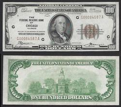 $100 1929 FRBN Chicago One Year only. Uncirculated