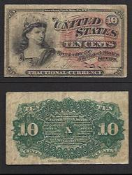 4th Issue Fractional 10 Cent Fr. 1258-Civil War