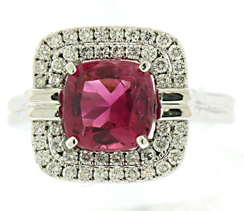 Outstanding Pink Tourmaline w Double Halo Diamond Ring