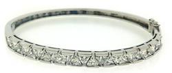 925 Sterling Silver Triangle CZ Bangle Bracelet
