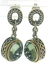Sterling Silver and Gold Prasiolite Gemstone Earrings