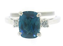 Elegant London Blue Topaz and Diamond Ring