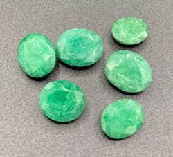 Six Oval Cut Green Beryl Stones