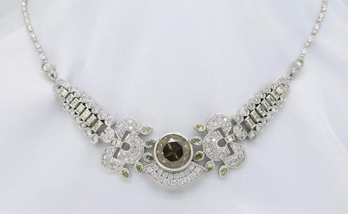 18K White Gold Custom Fancy Colored Diamond Necklace