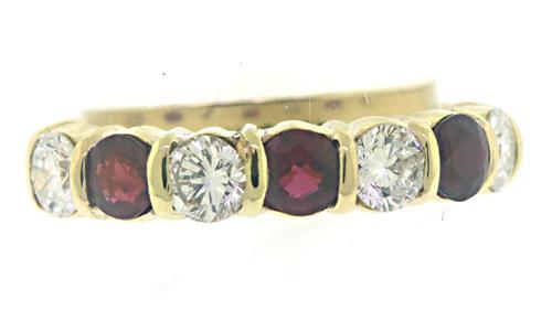 Stunning 18kt Diamond and Ruby Bar Set Band
