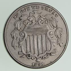 1881 Shield Nickel - Circulated