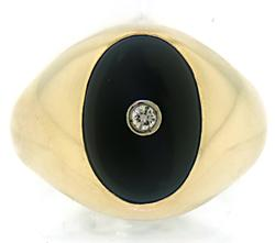 Black Onyx and Diamond Signet Style Ring