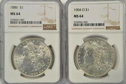 Near Gem 1886 & 1904-O Morgan Silver Dollars. NGC MS64