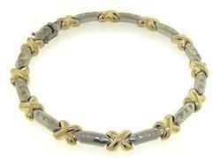 Amazing Two Tone X Shaped Bar Bracelet