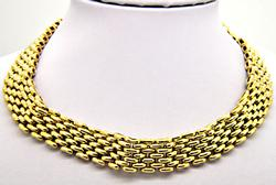 18KT YELLOW GOLD HEAVY PANTHER NECKLACE.