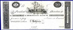 A Crisp Exceptional 1800's $20 F & M Bank Baltimore, Maryland!
