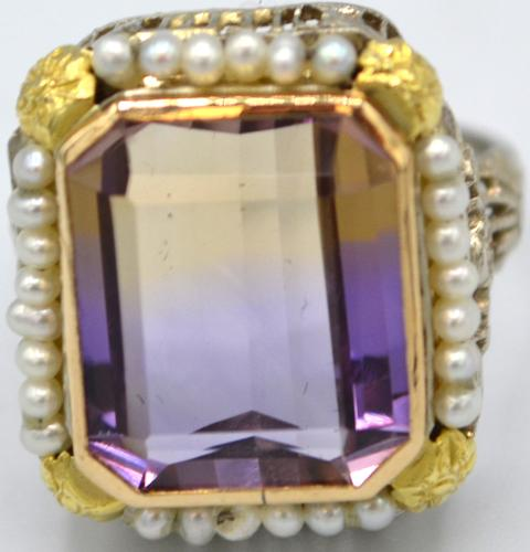 Amethyts and Pearl Art Deco Ring