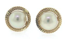 Classic Pearl Stud with Double Rope Bezel