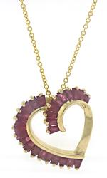 Beautiful Ruby Heart Shaped Necklace