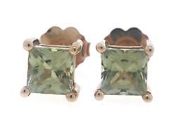 Simple Green Amethyst Stud Earrings