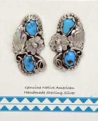 Sterling Free Form Turquoise Earrings