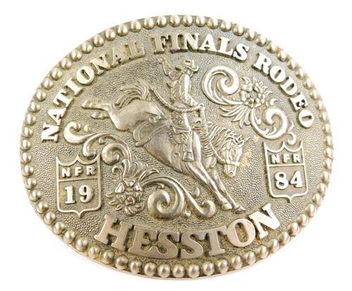 Large 1984 National Finals Rodeo Belt Buckle, Signed